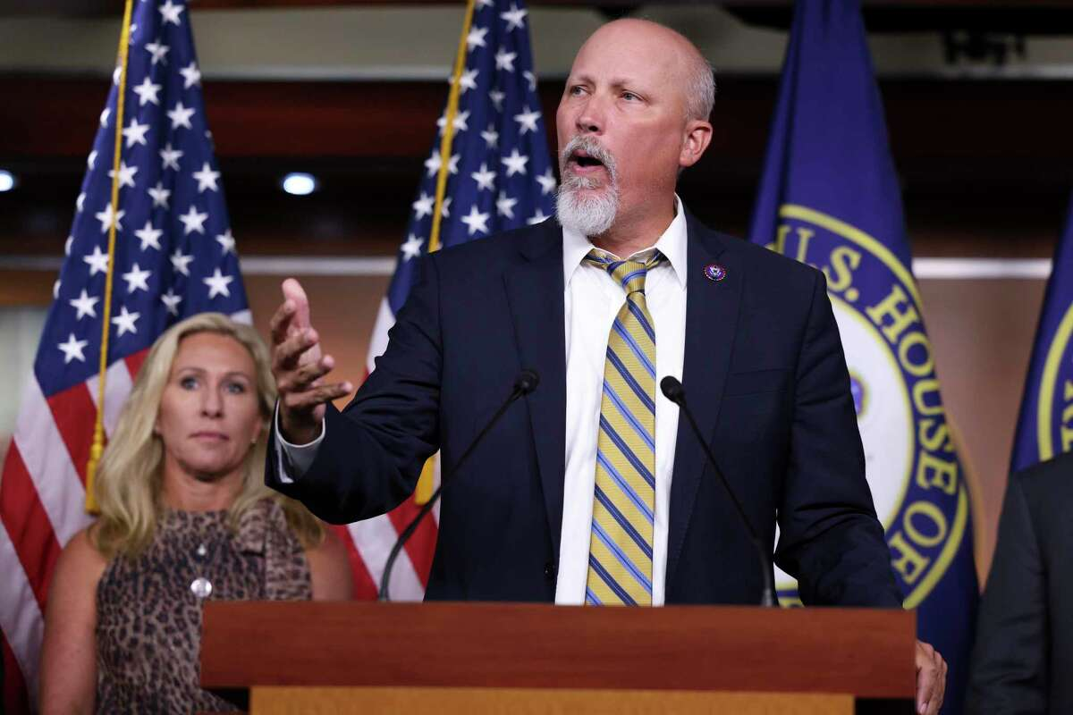 Rep. Chip Roy (R-TX), joined by Rep. Marjorie Taylor Greene (R-GA), speaks at a news conference about the National Defense Authorization Bill at the U.S. Capitol on September 22, 2021 in Washington, D.C.