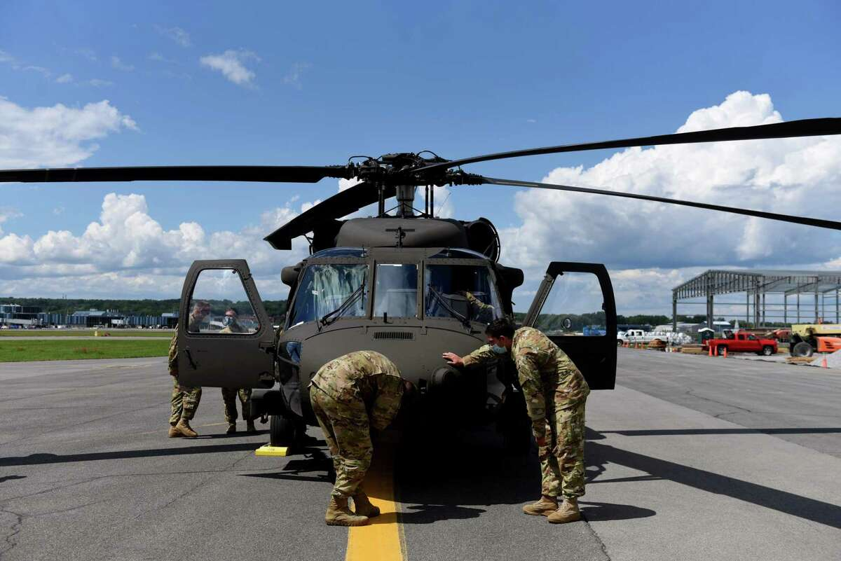 New York Army National Guard takes delivery of a brand new UH-60M Black Hawk helicopter on Tuesday, Aug. 18, 2020, at the New York State Division of Military and Naval Affairs Army aviation support facility in Colonie, N.Y. The aircraft is the first of 20 $21.3 million new Black Hawk helicopters allotted to the state. It has digital flight controls and an advanced communications system. (Will Waldron/Times Union)