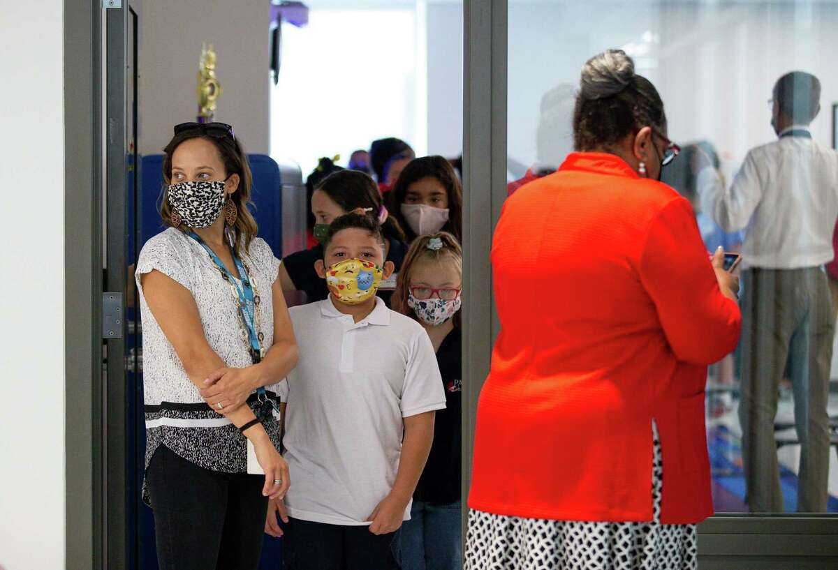Students at Parker Elementary School during the first day of school on Monday, Aug. 23, 2021, in Houston.