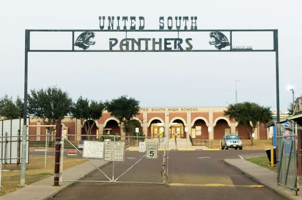 United South High School is seen on Wednesday, Sept. 22, 2021 from Mexico Avenue. UISD has stated that precautions were taken on the first of a two-day span where a threat of a school shooting was made, and that a press conference will be held Friday regarding the investigation.