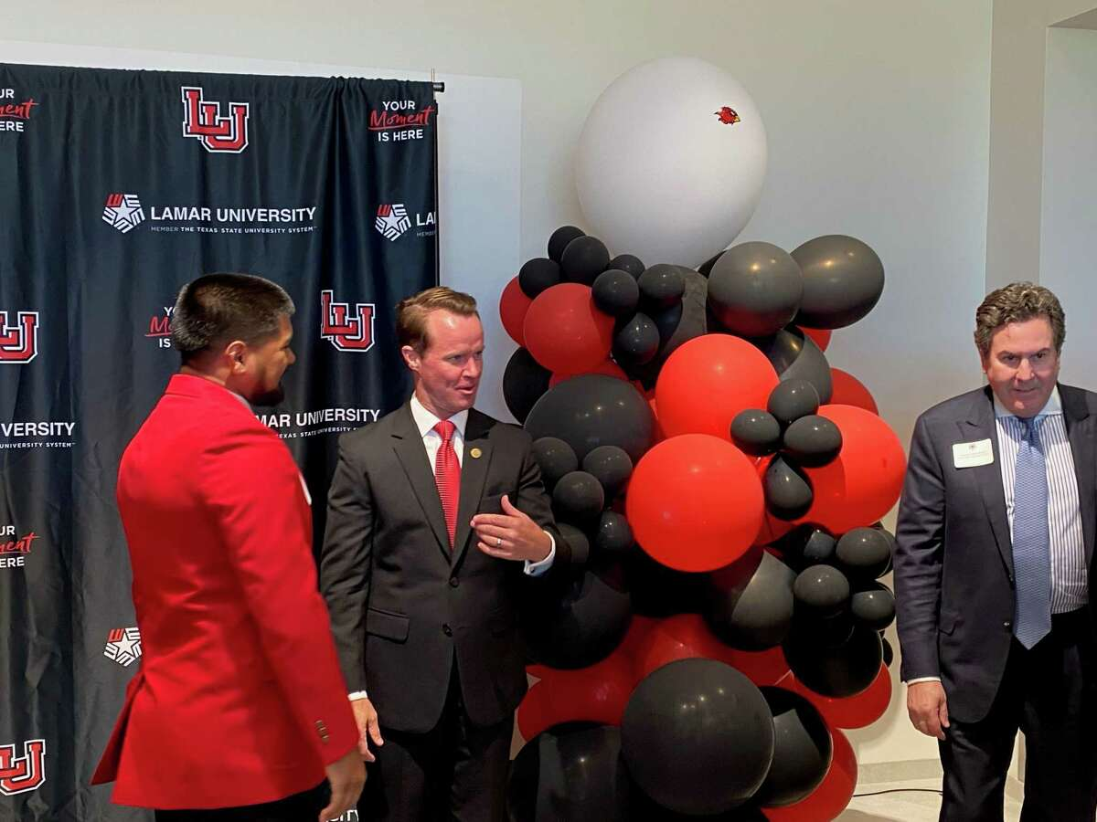 """Speaker Dade Phelan (R-Beaumont) celebrated with members of the Lamar University community on Thursday afternoon at the Lamar University Welcome Center, cheering $17 million in """"equity funding"""" for the university and an additional $5.7 million to mitigate tropical storm damage. Photo taken Sept. 23. Jacob Dick/Beaumont Enterprise"""