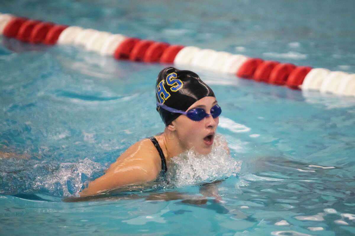Midland's Izzy Christiansen competes in the 200 yard individual medley during the 2021 Girls Tri-Cities Championship prelims Thursday, Sept. 23, 2021 at Saginaw Valley State University. (Katy Kildee/kkildee@mdn.net)