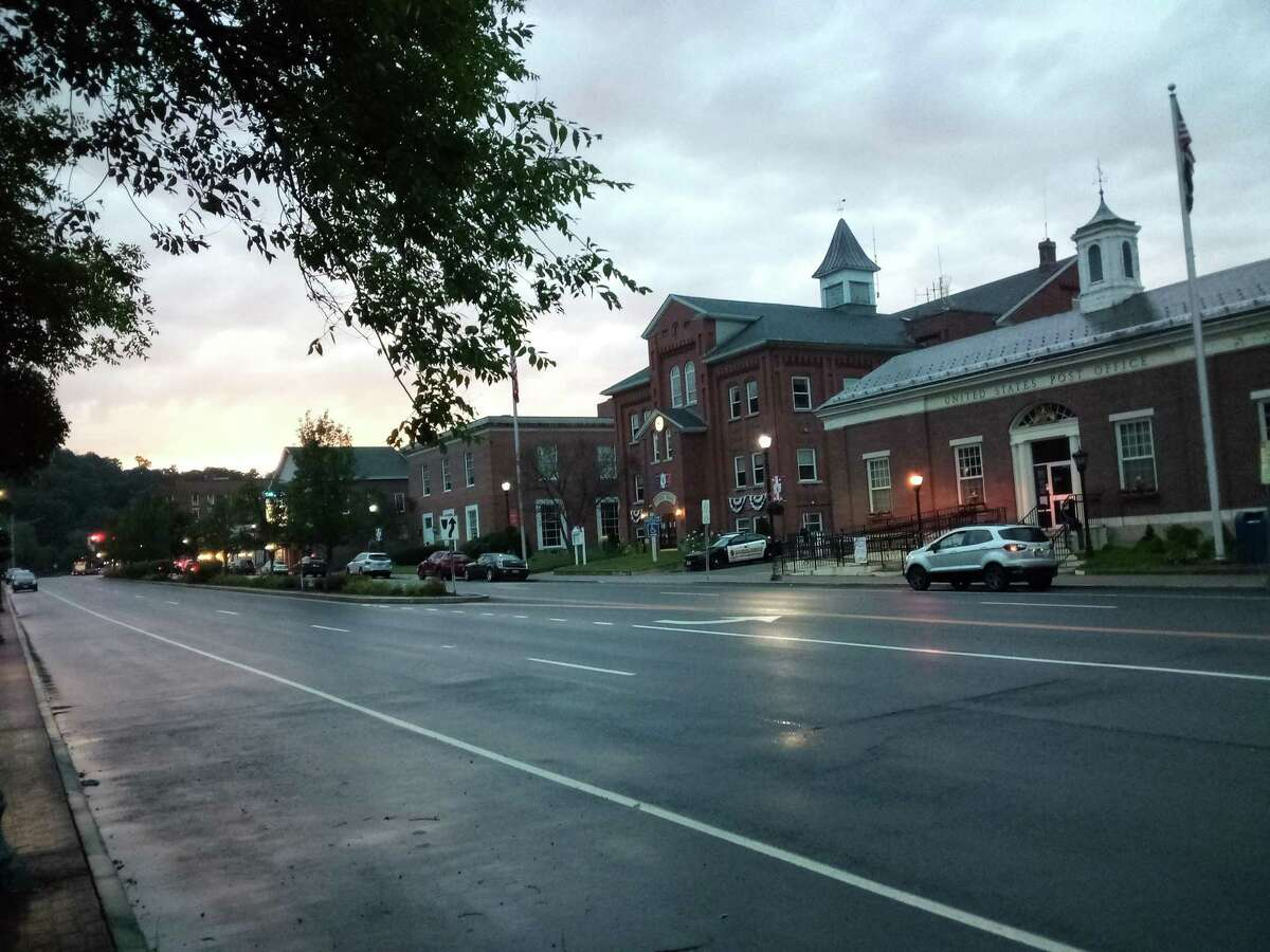 The Winchester Town Hall is seen from Main Street, Route 44, Winsted.