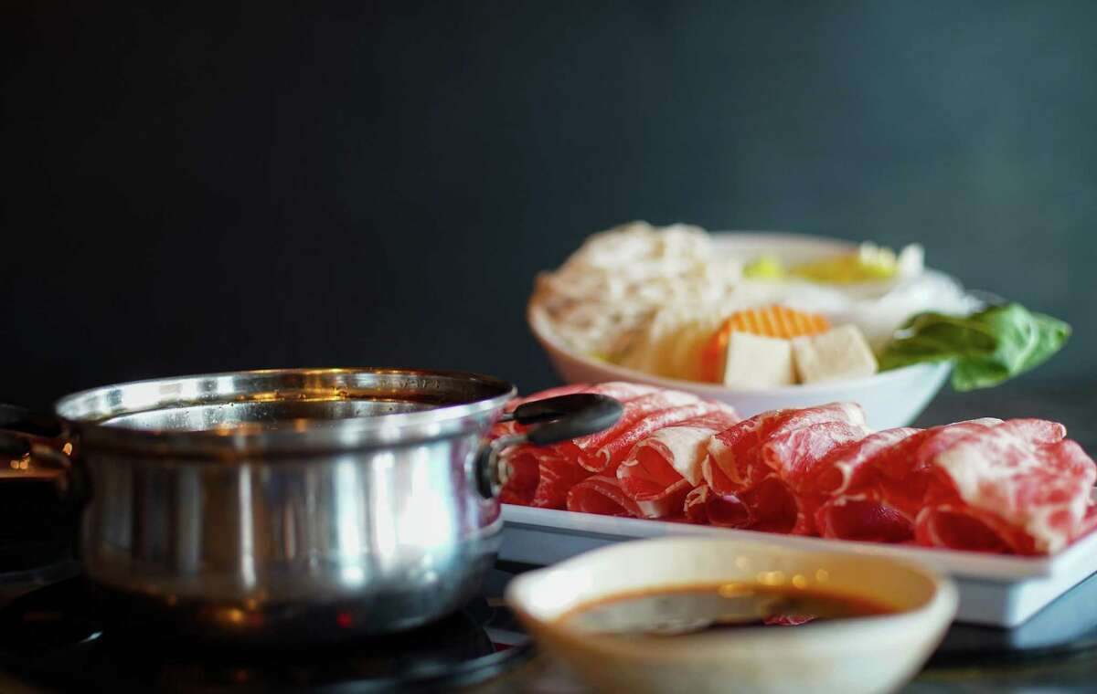 Hot pot with beef at Shabu House in Houston on Wednesday, Sept. 22, 2021.