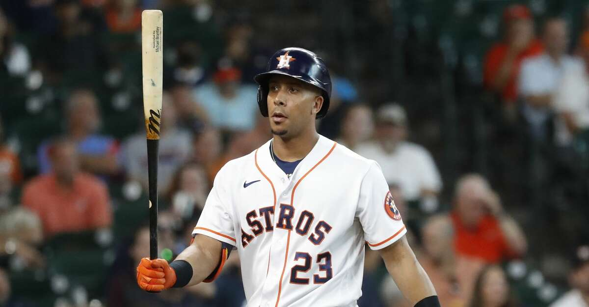 Houston Astros designated hitter Michael Brantley (23) reacts after striking out against Colorado Rockies starting pitcher Antonio Senzatela during the second inning at Minute Maid Park, Wednesday, August 11, 2021, in Houston.