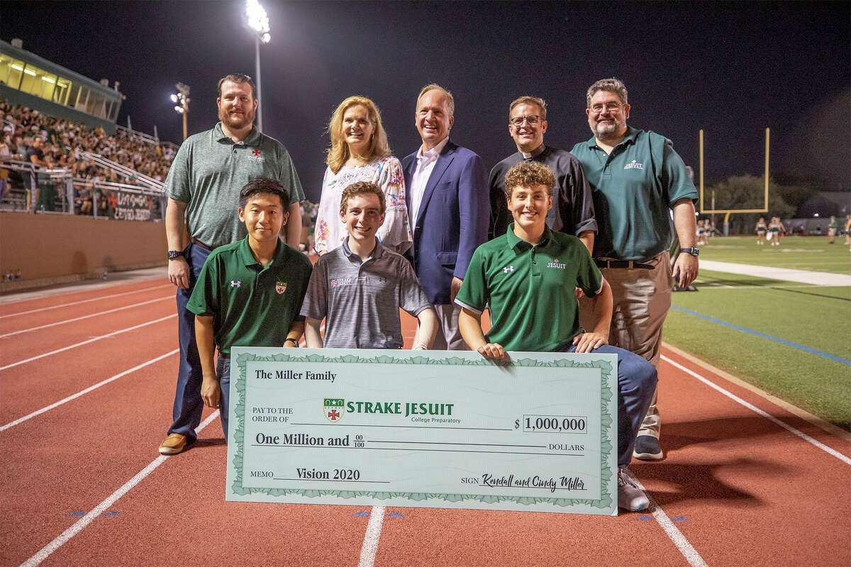 On August 27, Strake Jesuit received a $1 million donation from Kendall (top, middle) and Cindy Miller (top, second on the left) that will help the Catholic school achieve its strategic goals