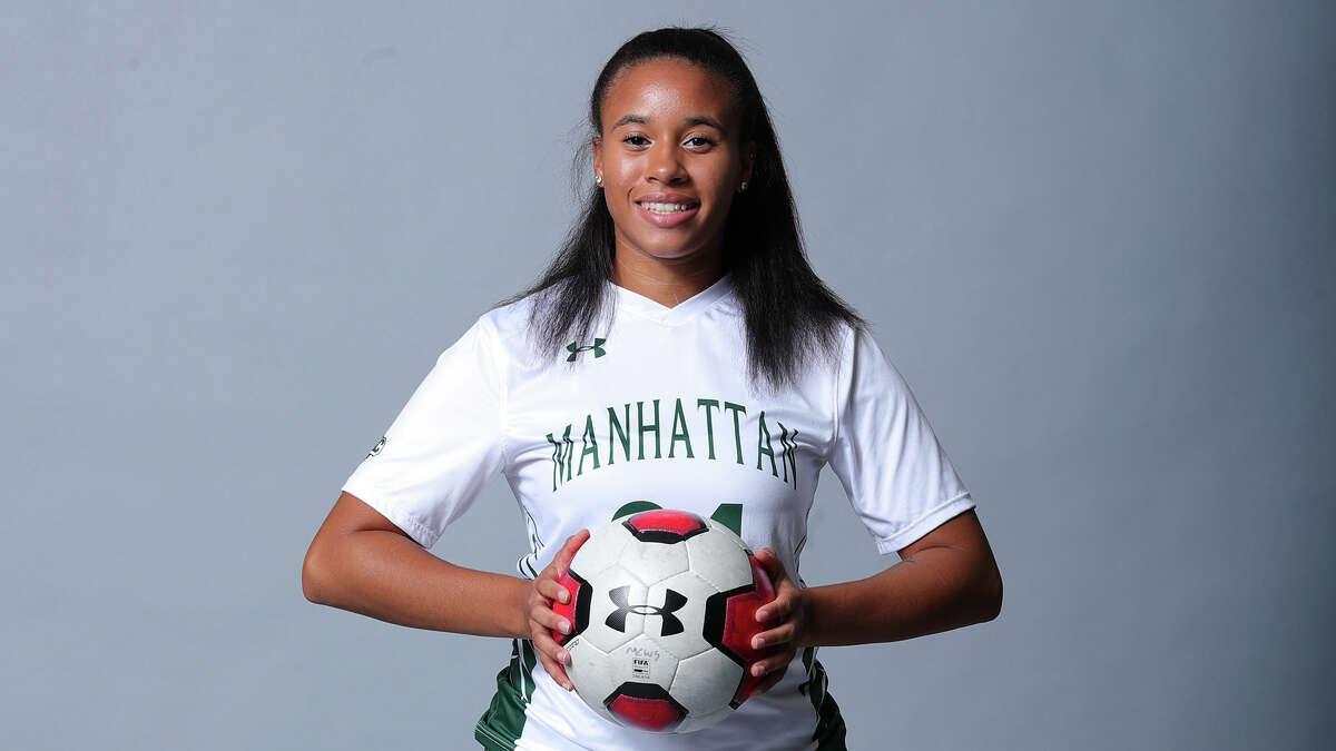 Colonie High graduate Ianah Mackey of the Manhattan women's soccer team.