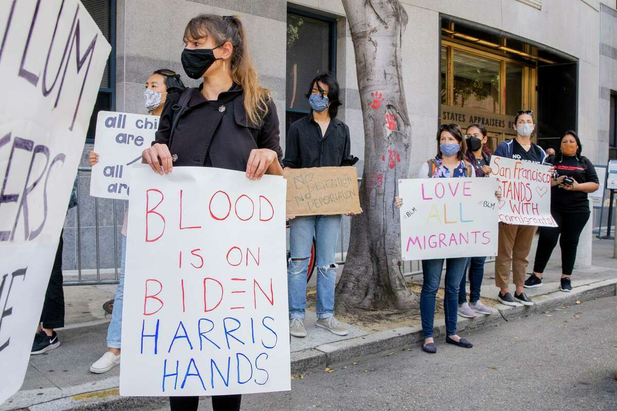 Rebecca Merton protests outside ICE headquartersin San Francisco. People protested against the recent treatment of Haitian immigrants at the U.S.-Mexico border.
