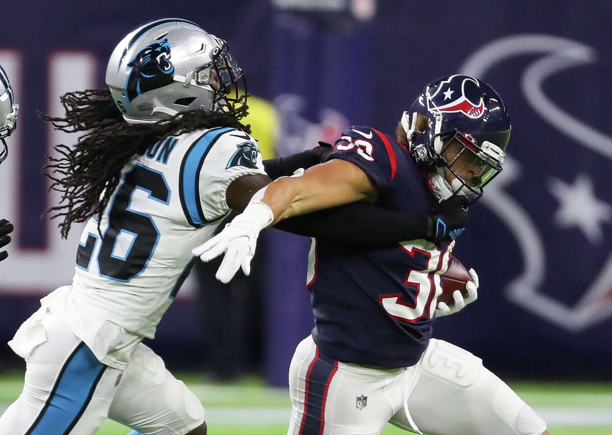 Phillip Lindsay and the Texans' running backs didn't get much going Thursday against the Panthers.