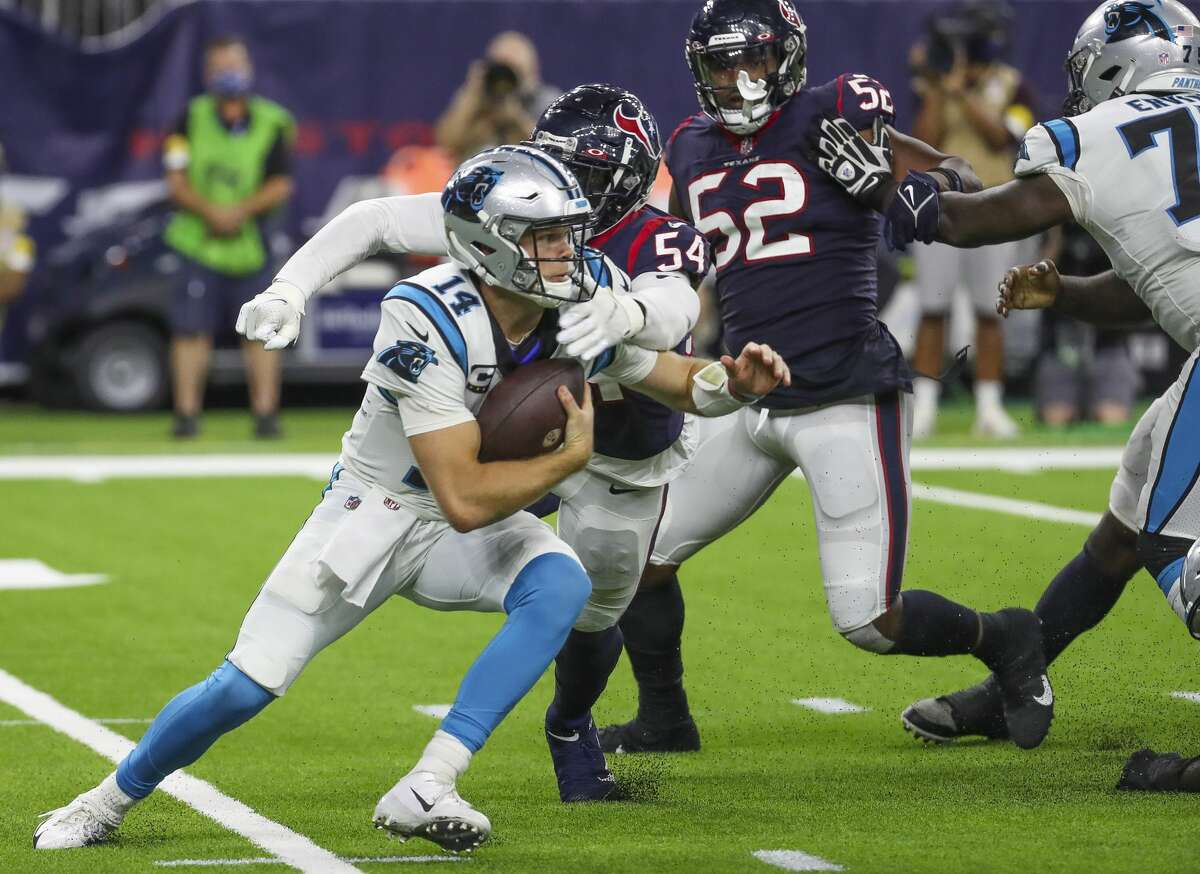 Sam Darnold and the Panthers kept the Texans at arm's length for much of Thursday's game en route to an easy win at NRG Stadium.