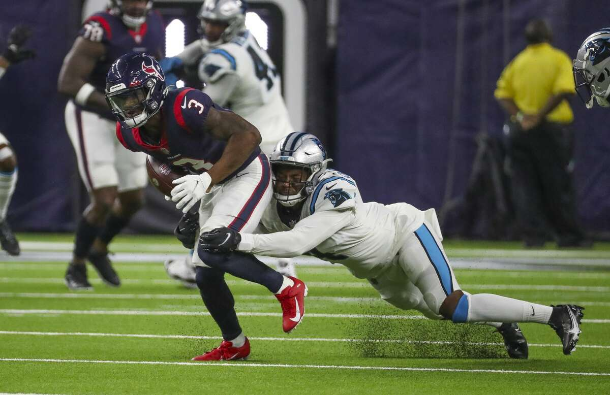 Houston Texans wide receiver Anthony Miller (3) makes a reception for a first down during the third quarter of an NFL football game Thursday, Sept. 23, 2021, in Houston.
