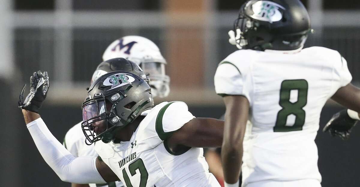 Hightower Hurricanes defensive end Robert Staten #42 celebrates recovering a Manvel Mavericks fumble in a district 10-5A Division I high school football game in the fist half on September 23, 2021 at Freedom Field in Rosharon, Texas.