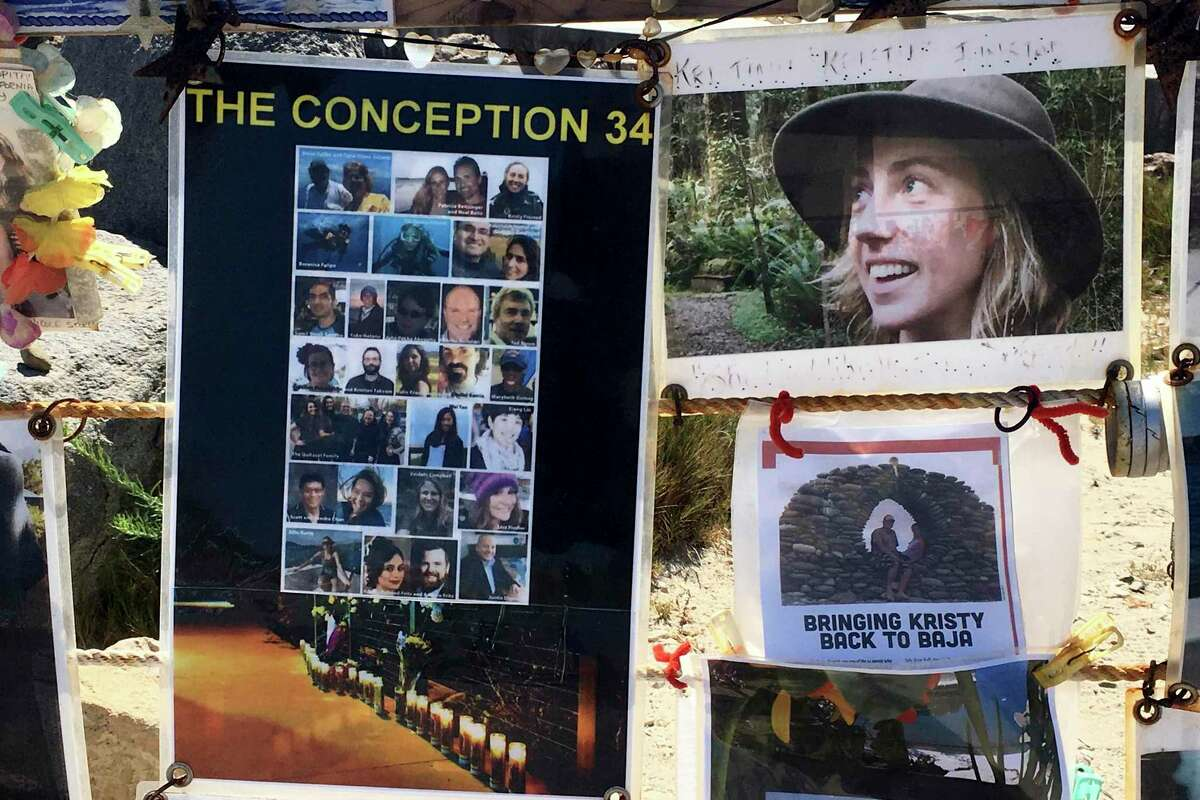 This July 12, 2020 file photo shows a memorial to the people who died aboard the Conception dive boat along the coast near the Santa Barbara, Calif., harbor.