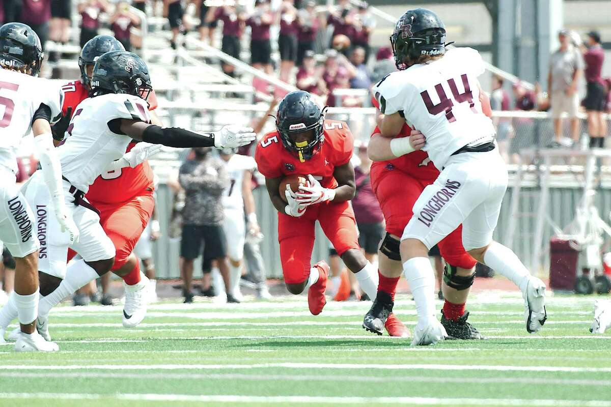 Dawson's Bryce Burgess (5), shown running against George Ranch, scored two touchdowns Thursday night to help lift the Eagles to a 40-0 win over Alief Hastings at Crump Stadium.