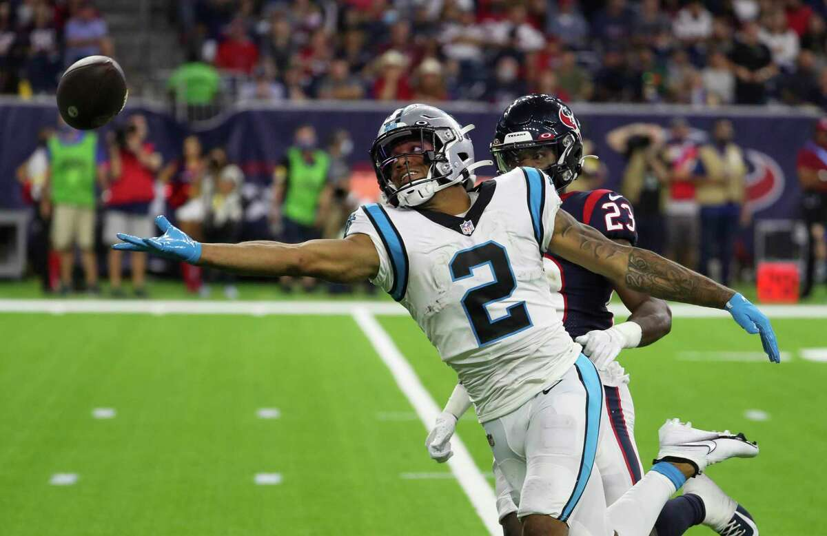 Carolina Panthers wide receiver DJ Moore couldn't bring in this pass but he caught eight others for 126 yards.