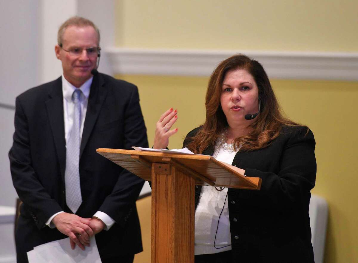 Town of Greenwich Commission on Aging Director Lori Contadino and Vice Chairman Steven Katz speak before the Retired Men's Association in 2019. On Thursday, the Board of Selectmen unanimously appointed her as the town's municipal agent for elderly persons, which she hopes will provide more of an opportunity to advocate for seniors.