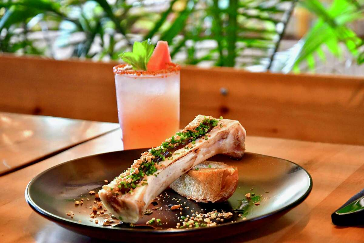 Bone marrow with guajillo chile marmalade at Casa Nomad, a new Tulum-inspired lounge and coastal Mexican restaurant at M-K-T Heights, 600 N. Shepherd.
