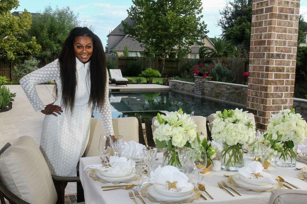 Ebony Goudeau at the monthly Eight Seats Garden Club garden party in Manvel on September 18, 2021.