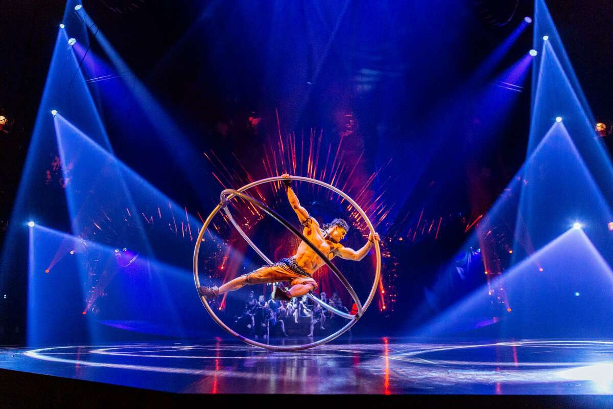"""A photo from a previous performance of Cirque du Soleil's """"Alegria"""" shows Jonathan Morin of Canada as the graceful strong man who performs the Crossed Wheel routine."""
