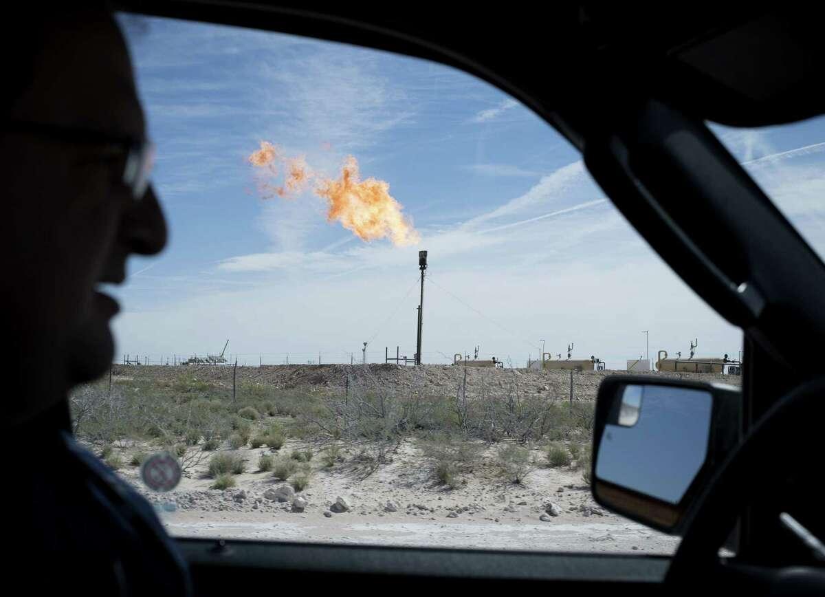 A gas flare near Mentone, Texas.