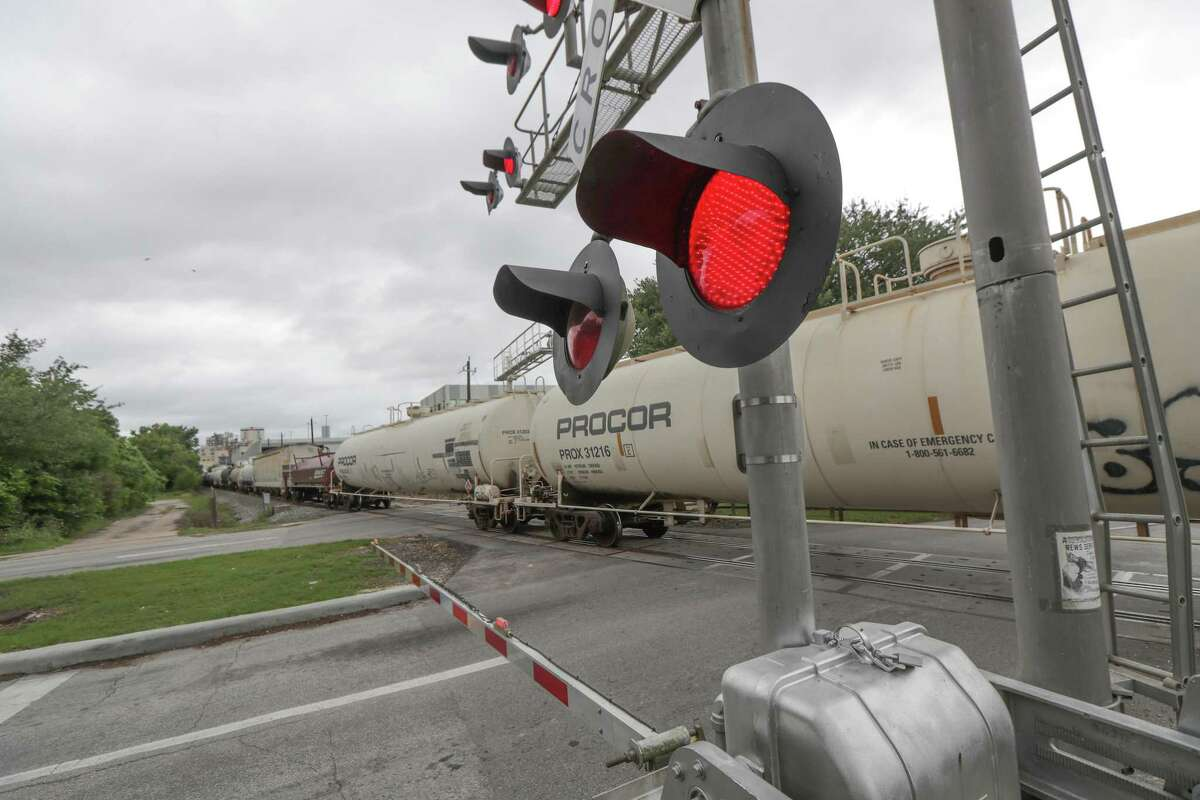 A train stopped for more than 45 minutes on the tracks across Lockwood Avenue on May 18, 2021, in Houston. Officials with Union Pacific are facing criticism by elected officials for failing to handle the problem of stopped trains.