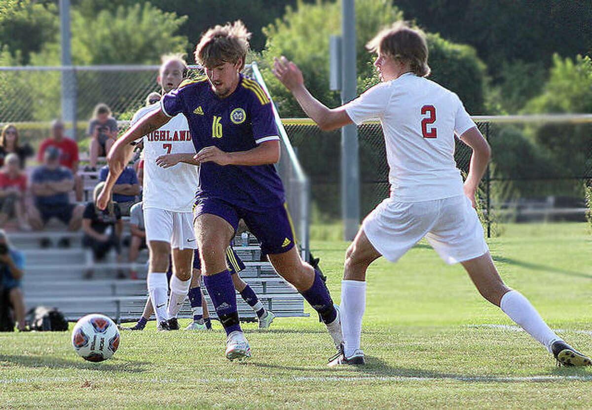 Robbie Kitzmiller of CM (16) scored a pair of goals and helped the Eagles knock off Waterloo 6-1 Thursday in Waterloo. He is shown in action against Highland earlier this season.