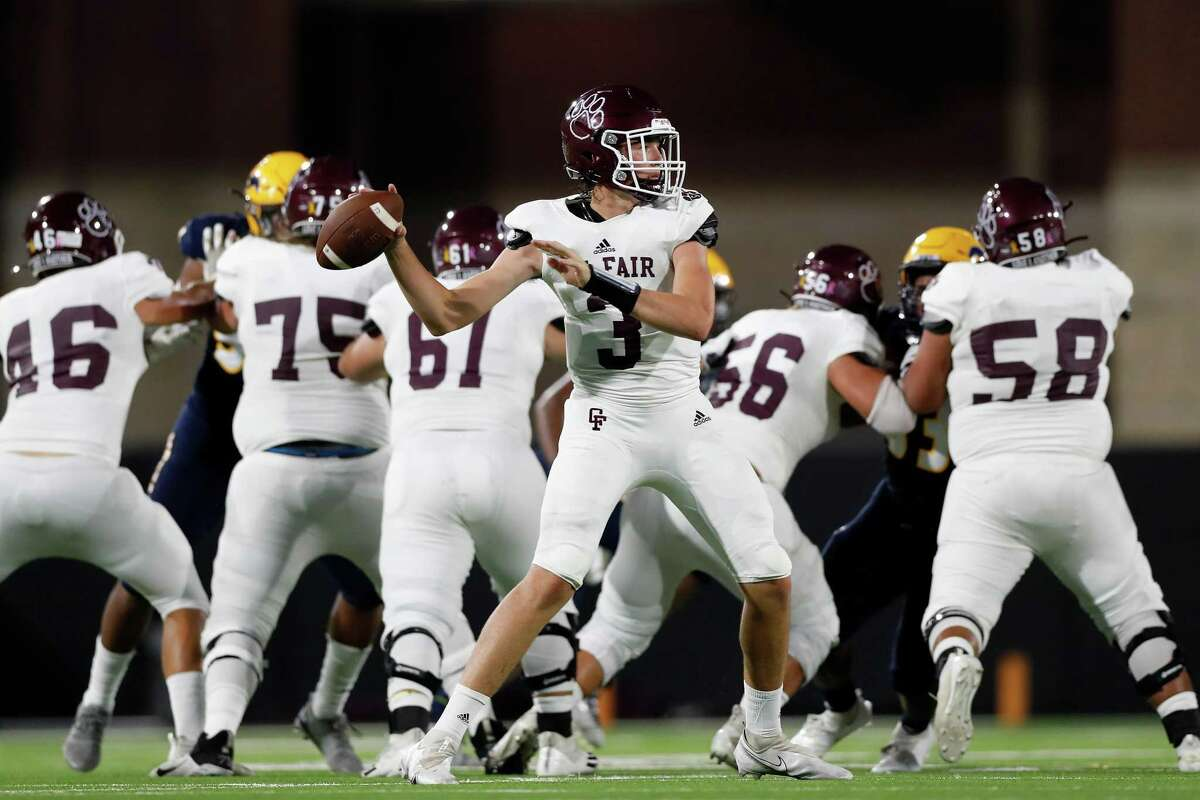 Cy-Fair Bobcats quarterback Trey Owens (3) throws a pass during the first half of the high school football game between the Cy-Fair Bobcats and Cypress Ranch Mustangs at Cy-Fair FCU Stadium in Cypress, TX on Thursday, August 26, 2021.
