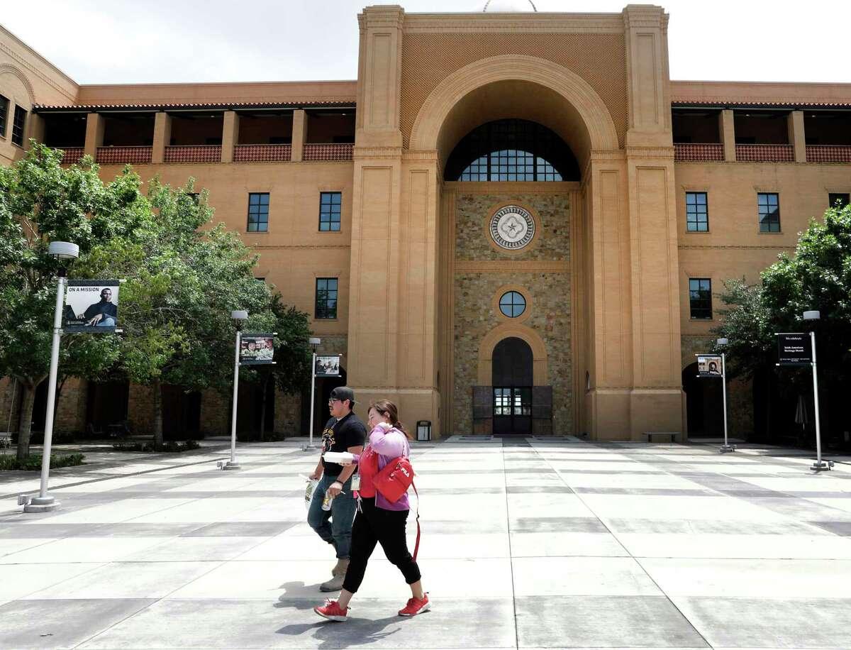 The quiet campus of Texas A&M University-San Antonio in April, 2020.