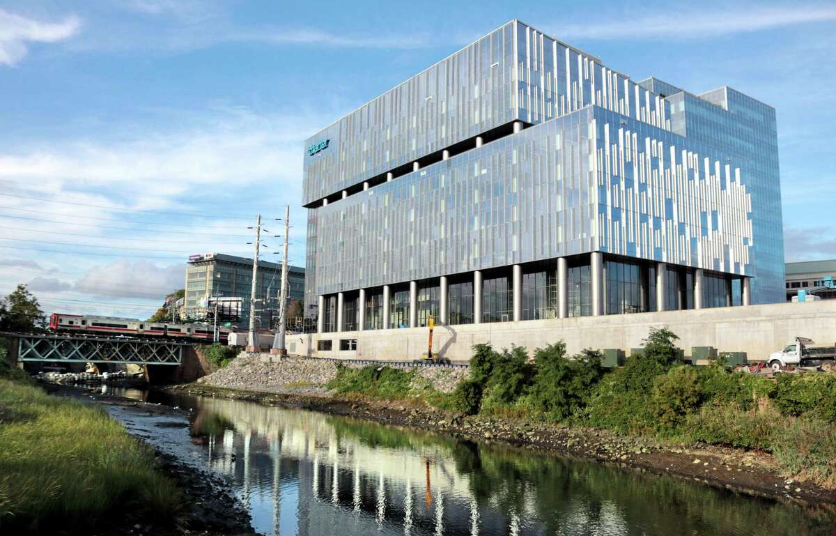An exterior view of the new Charter Communications building still under construction in Stamford, Conn., on Tuesday September 21, 2021.