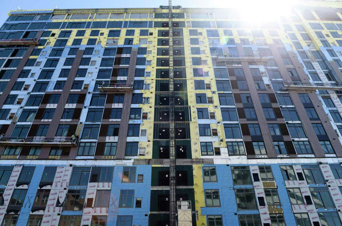 Construction continues on The Smyth apartment building on Washington Boulevard in Stamford, Conn. Thursday, May 6, 2021.