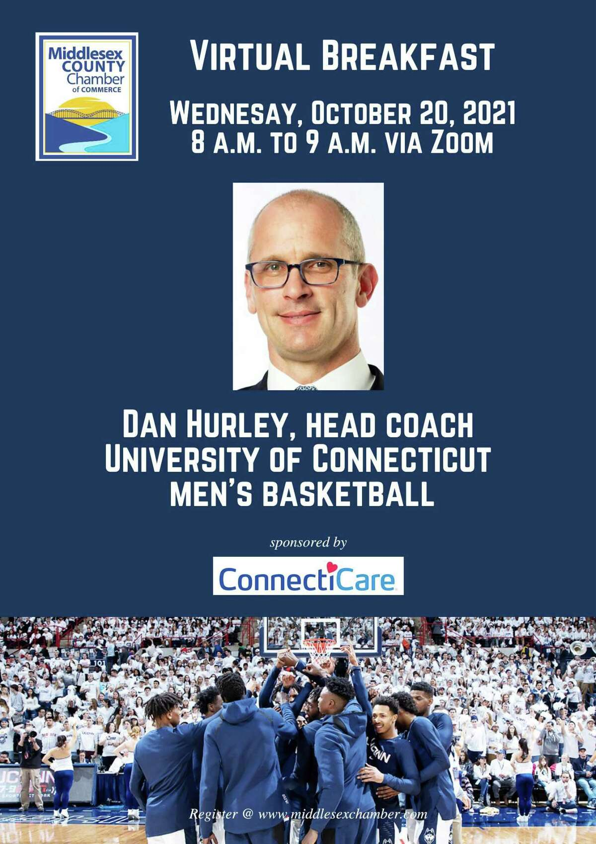 The Middlesex County Chamber of Commerce is hosting UConn Men's Head Basketball Coach Dan Hurley during a virtual member breakfast Oct. 20.