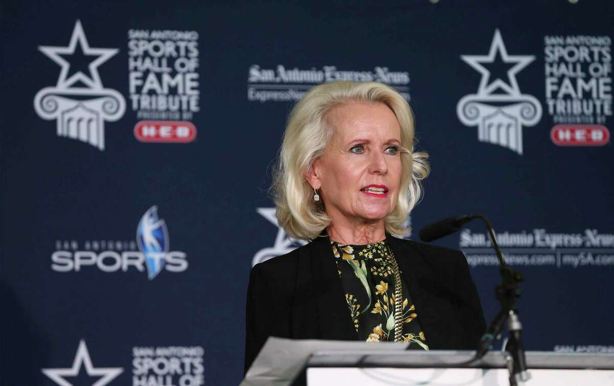 Betsy Gwin, daughter of former Spurs Chairman Gen. Robert McDermott, speaks for her late father as inductees into the San Antonio Sports Hall of Fame are introduced at a press conference announcing the Class of 2020. A partnership between San Antonio Sports, the City of San Antonio and San Antonio Express-News, the Sports Hall of Fame selection is open to individuals with ties to San Antonio who have made a significant impact in the sports community through outstanding athletic achievement or major involvement and contributions to athletic programs. (Kin Man Hui/San Antonio Express-News)