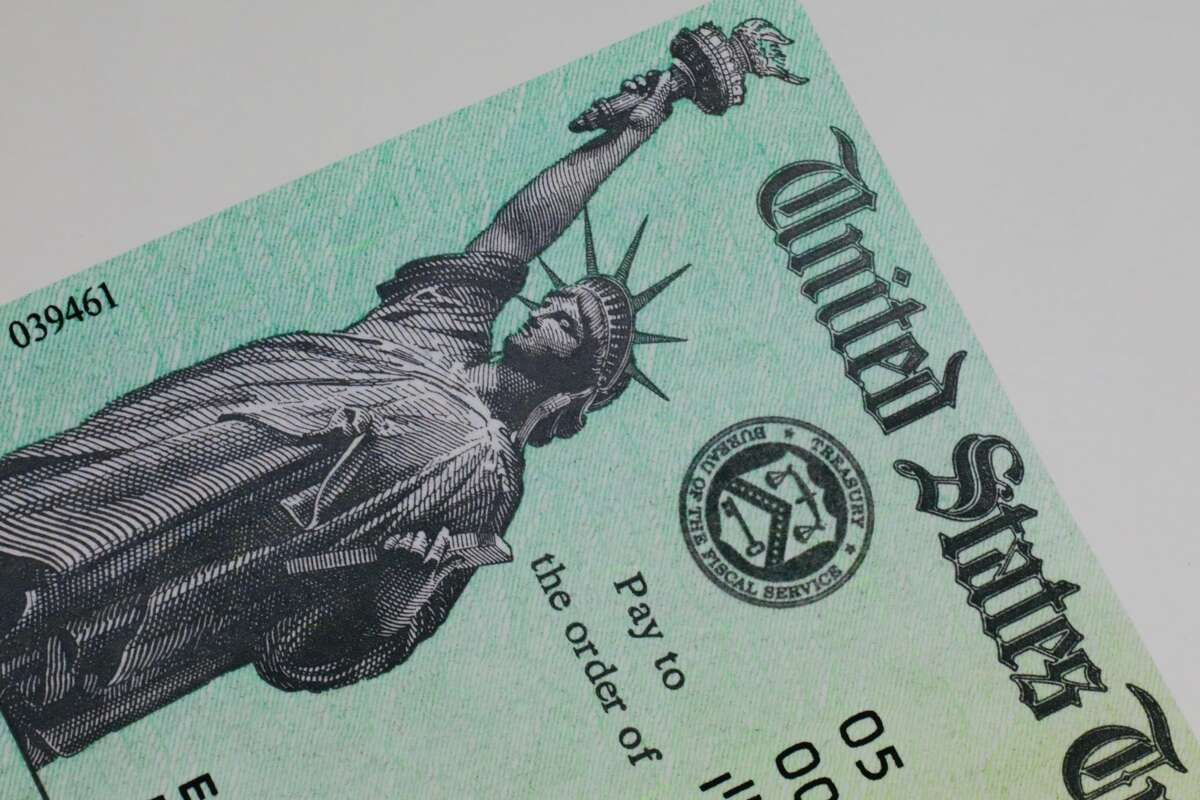 A file photo of a federal stimulus check.