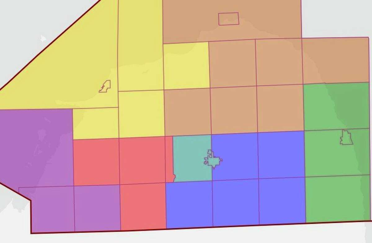 This map shows the apportionment committee's preferred layout for new commissioners districts, which if approved would take effect in the 2022 election. The map was created using the website Dave's Redistricting and would change the layout of most of the current districts. (Courtesy Photo)