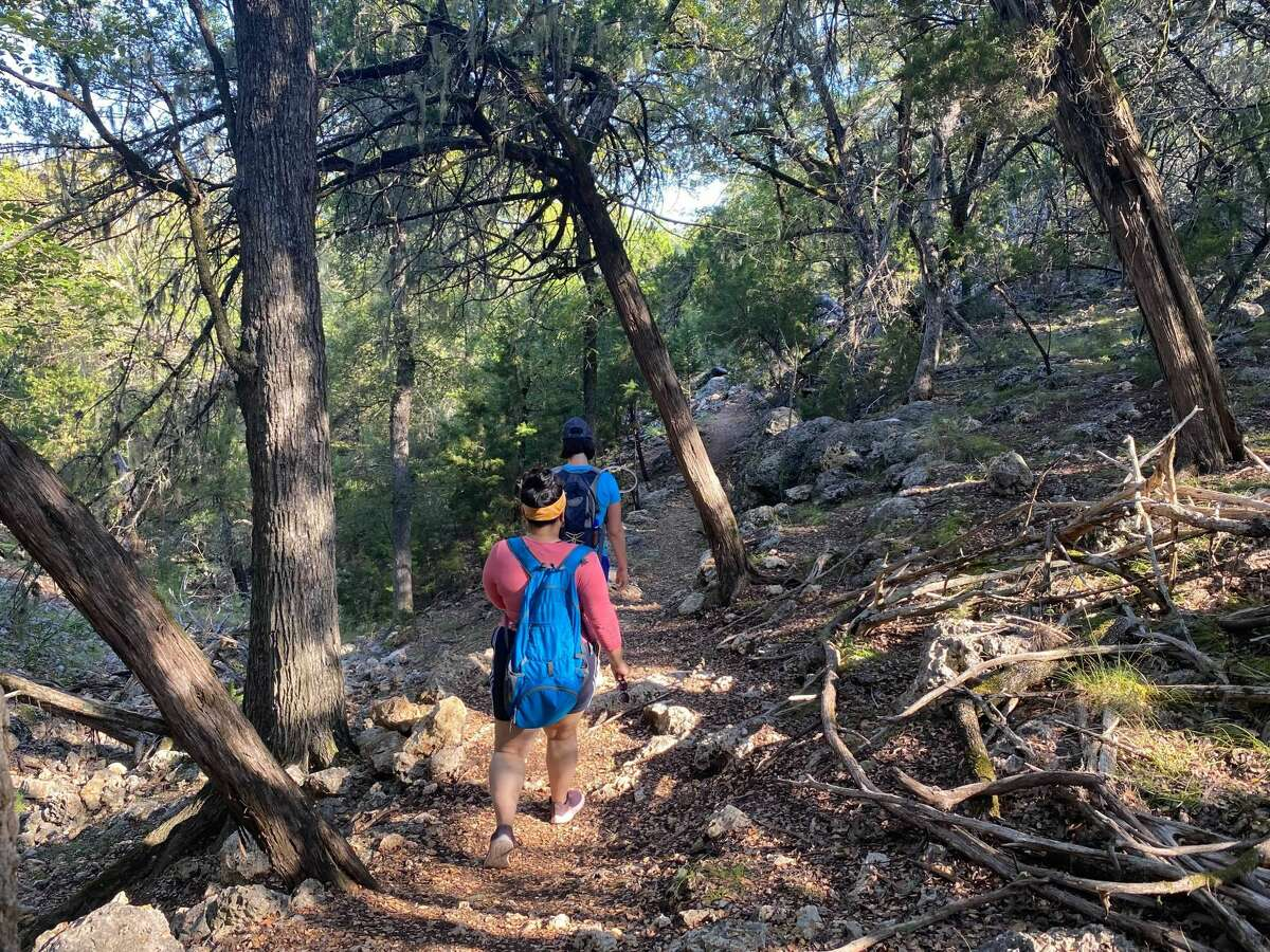 Hikerbabes walking along the Bamberger trail at Guadalupe State Park.