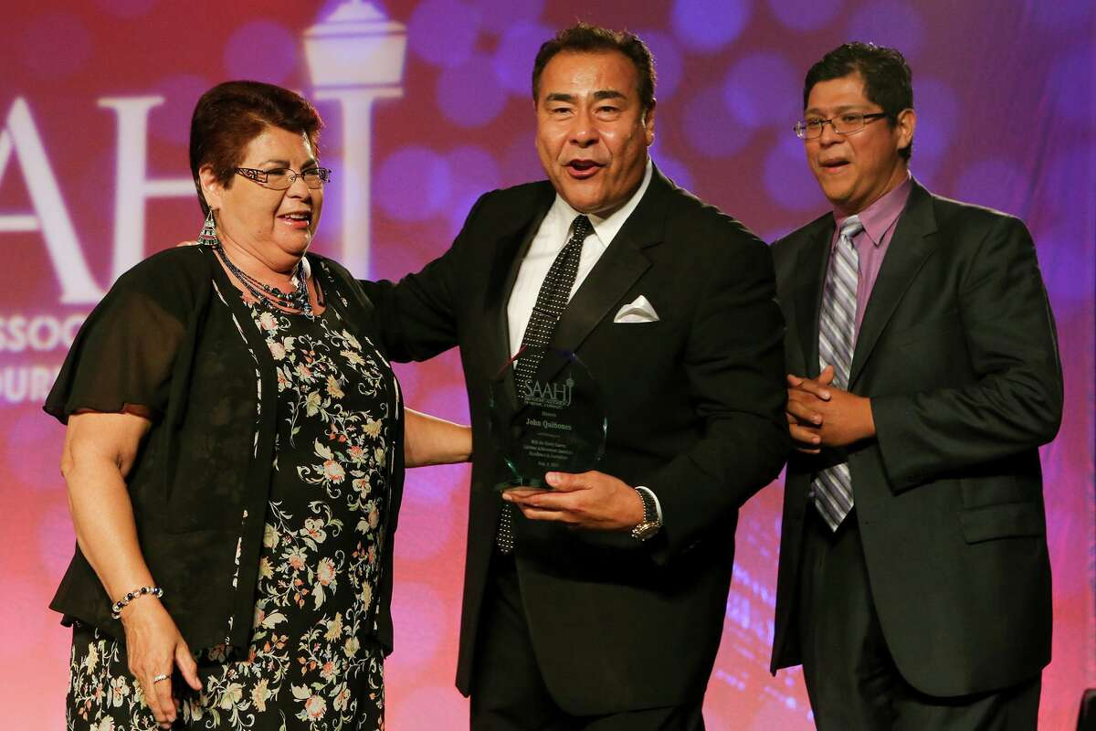 A federal report showing a lack of Latinos in journalism is important, but action is needed. Here, ABC news correspondent John Quinones (center), is pictured after receiving the Henry Guerra Lifetime Achievement Award, with his sister, Irma Campos (left) and nephew John Anthony Campos during the 2014 San Antonio Association of Hispanic Journalists annual awards gala.