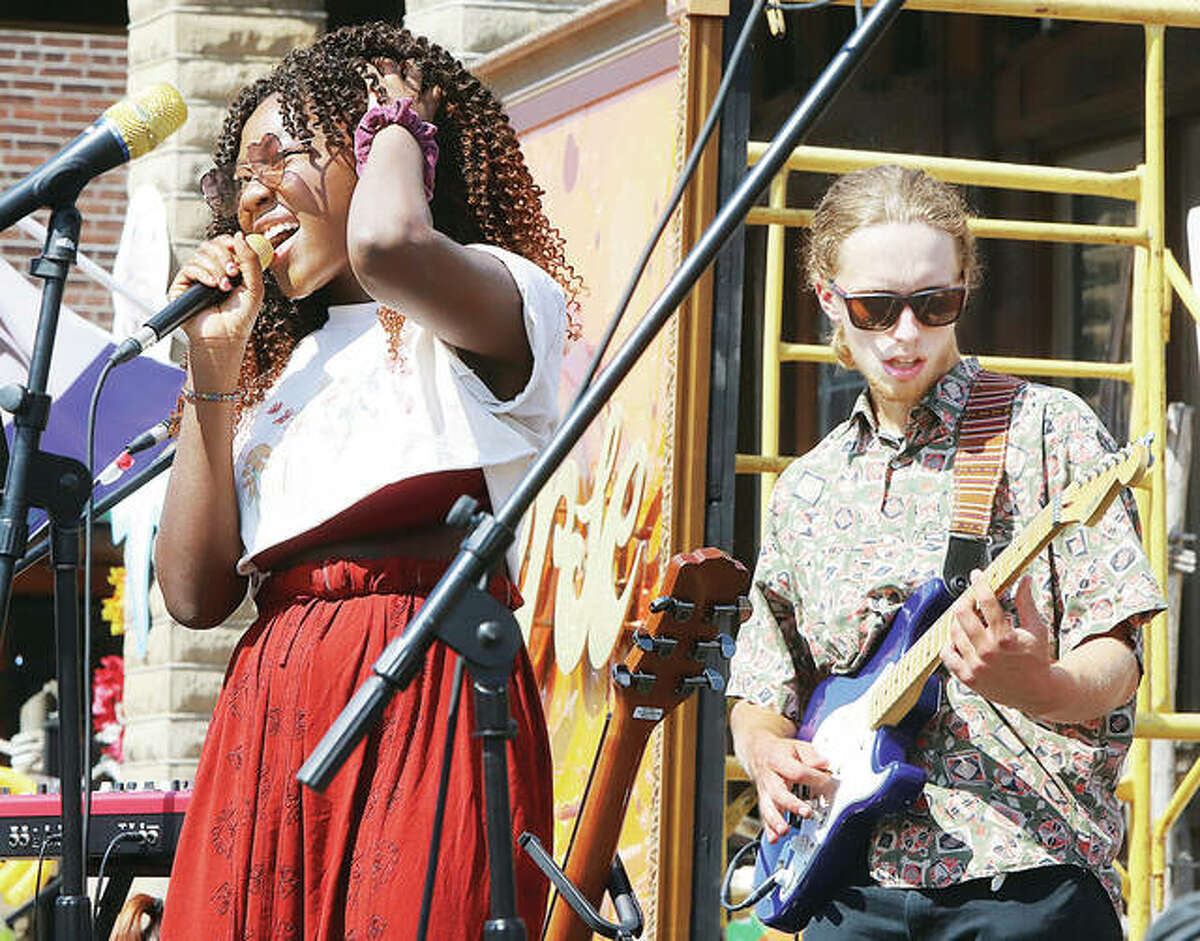 A group called Sounds of Syla performs on the main stage Saturday at the 15th annual Mississippi Earthtones Festival in downtown Alton.