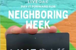 Pictured is the flyer for Neighboring Week at Live Oak Coffeehouse.