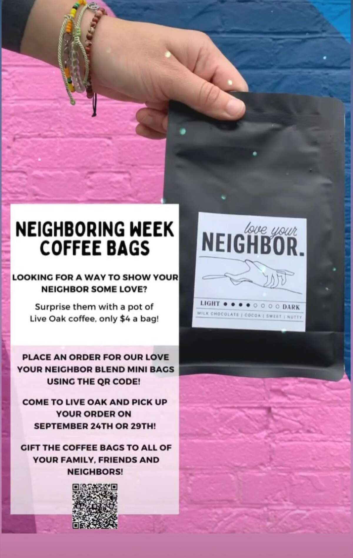 """Pictured is the QR code needed to order mini bags of the """"Love Your Neighbor"""" coffee blend."""