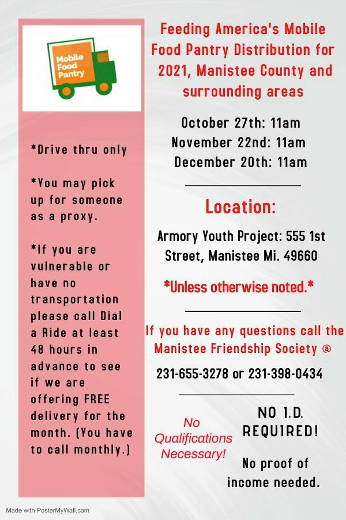 A flier by Feeding America this time, date, and location of its mobile food pantry for the next three months. (Courtesy Photo_