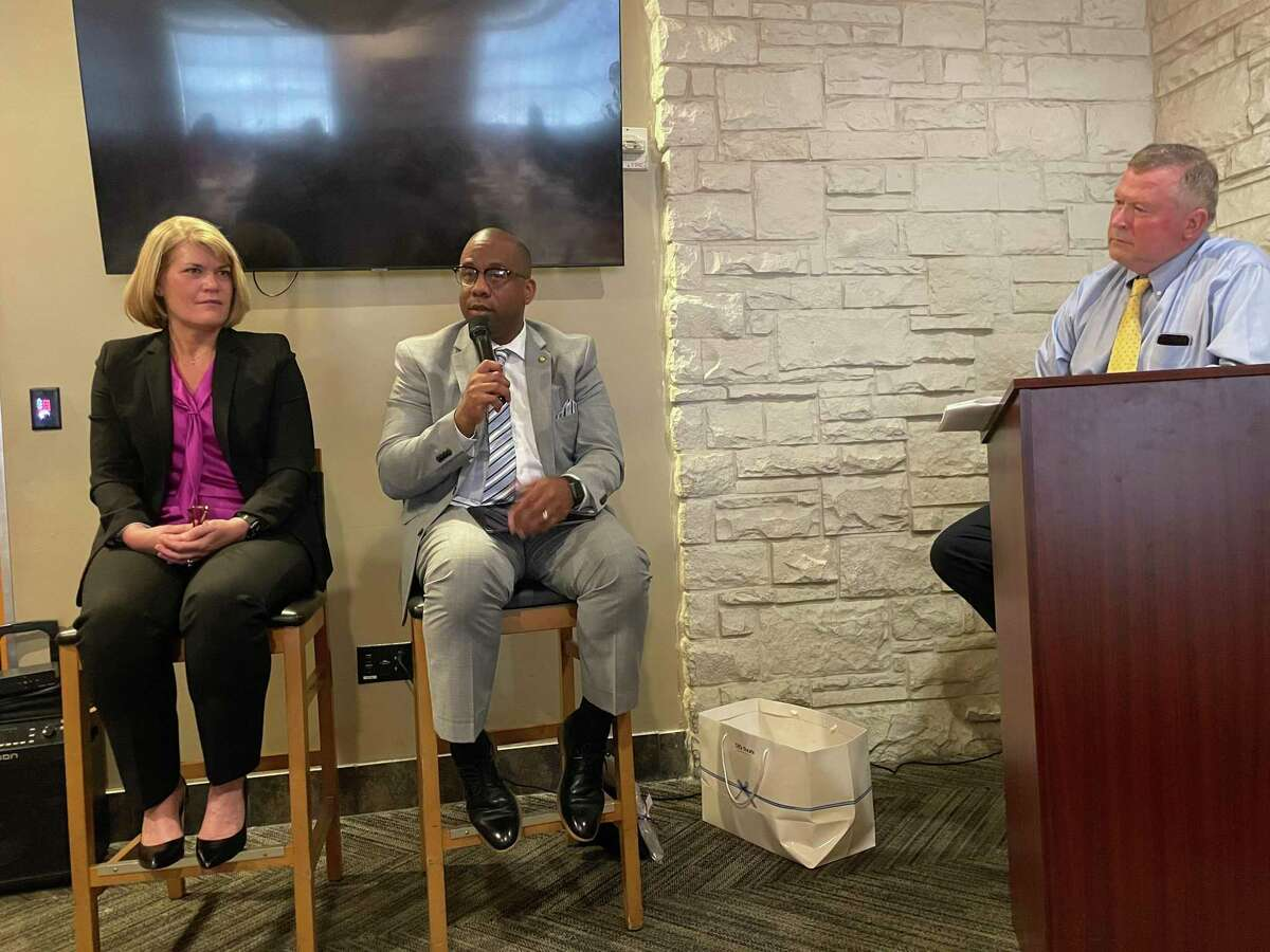 Richard Nevins, right, led a conversation with Houston ISD Superintendent Millard House II (center) and Spring Branch ISD superintendent Jennifer Blaine (left) during the Houston West Chamber of Commerce's September Governmental Affairs Committee event which was held at Fogo de Chao on Sept. 23.
