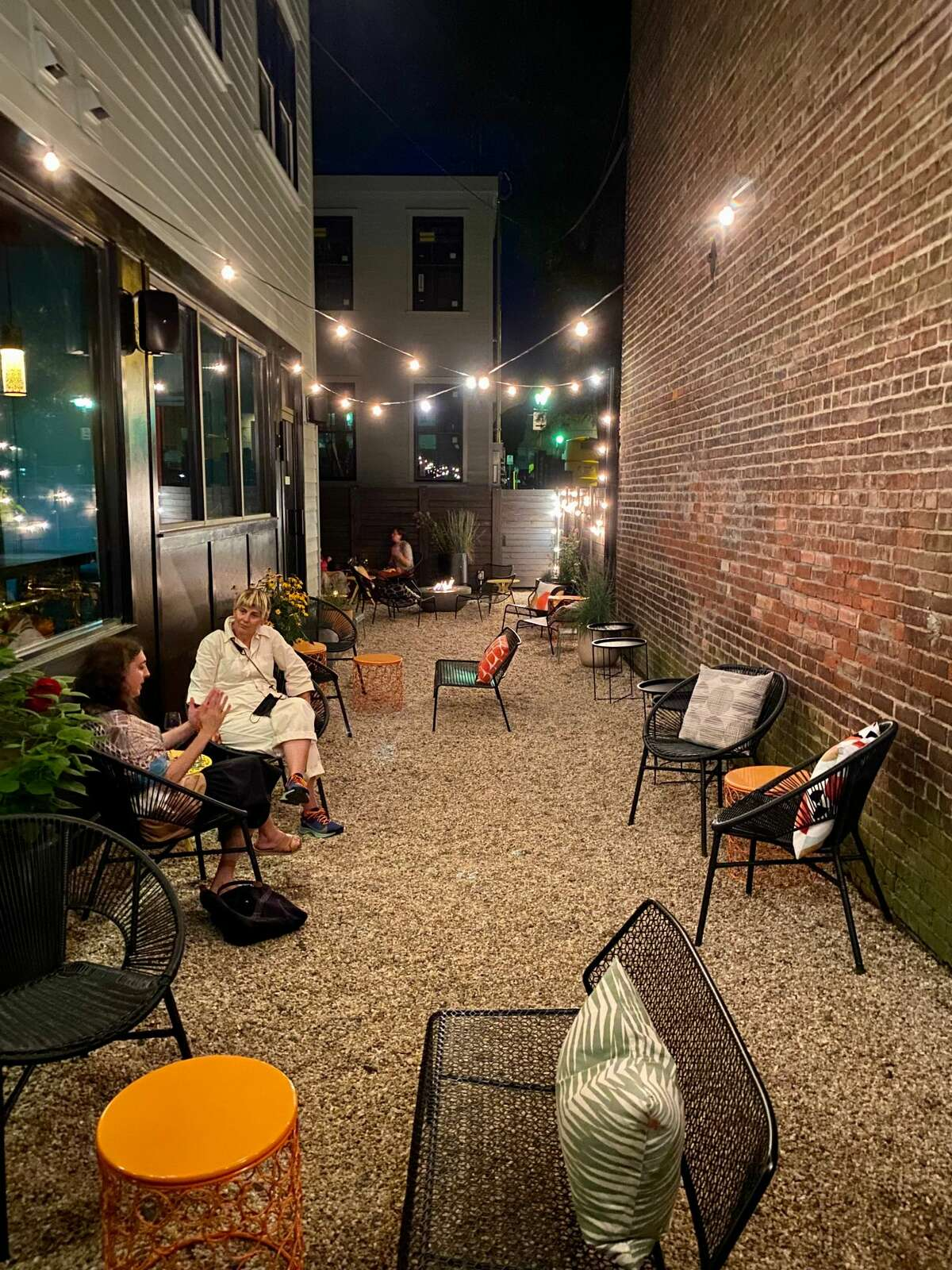 Bar Bene, located behind the Sisters Hudson boutique in Hudson, features courtyard seating.