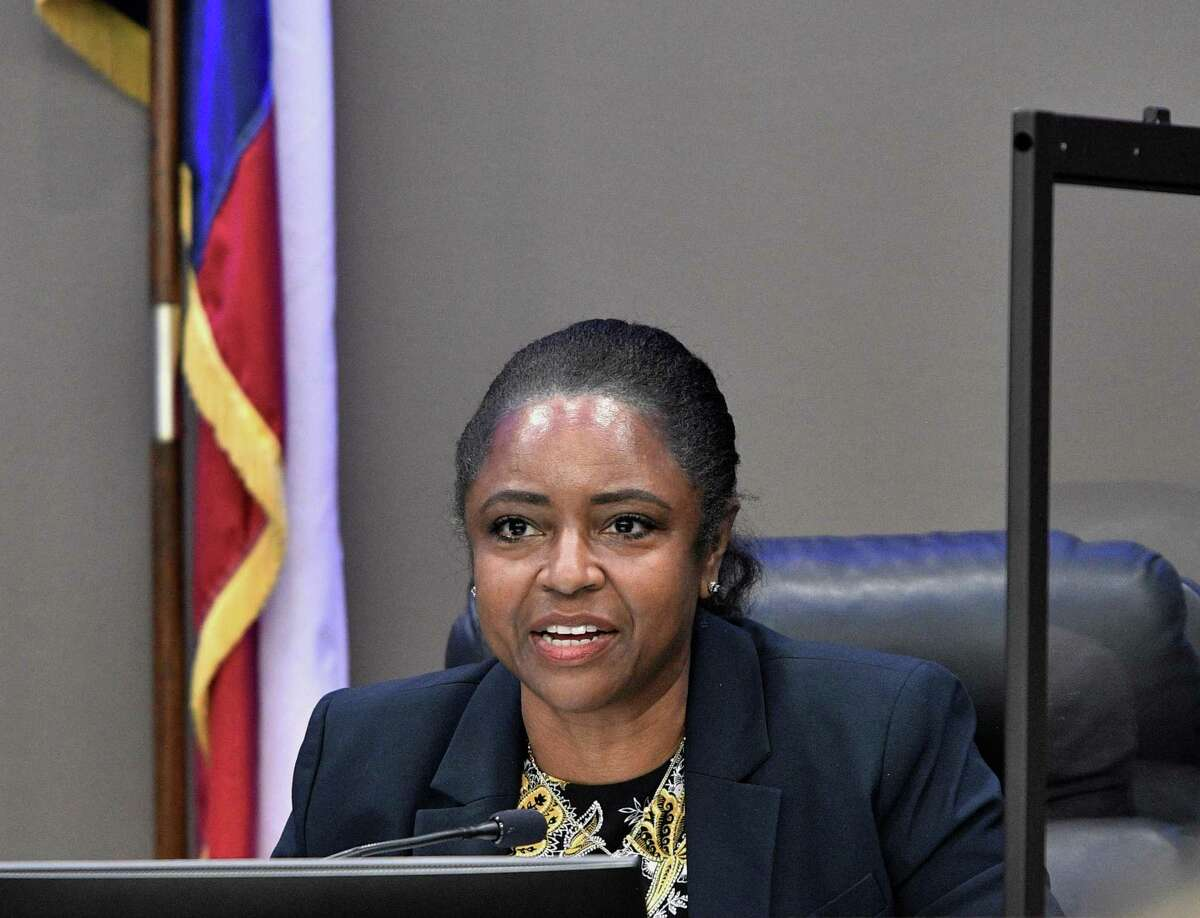 Board Vice President Martina Lemond Dixon speaks during a Humble ISD board meeting March 9, 2021, in Humble, Texas. She expressed her gratitude for district's continued success in following the CDC's safety protocols regarding the cleaning requirements within Humble ISD reducing the number of positive cases.
