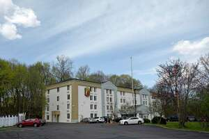 Danbury is poised to have a first-of-its kind homeless shelter at the Super 8 Motel, on Lake Avenue Extension, in Danbury, Conn.. Wednesday, April 14, 2021. Neighbors oppose the project.