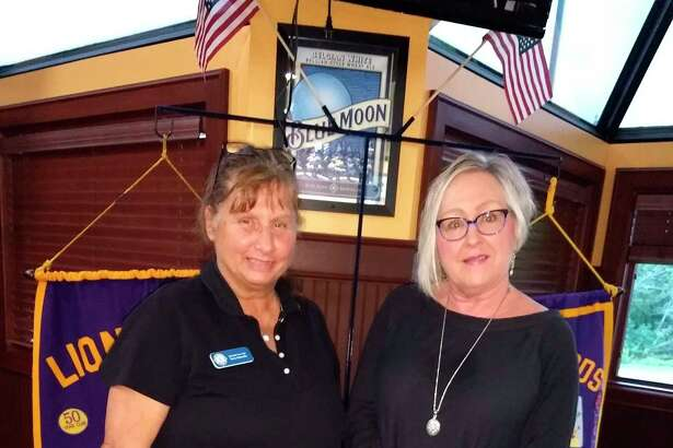 Madame President Terry Ventocillia of the Lions Club (left) and Carleen Rose owner of The Old Pioneer Store and Emporium during a Sept. 13 meeting where Rose spoke onhow the community pulled together post-COVID as a community that supported the small businesses. (Courtesy/Mary Smith)
