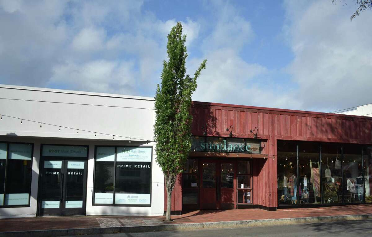 Connecticut's lone Sundance outlet in September 2021 on Main Street in Westport, and an adjacent storefront owned by Empire State Realty Trust where American Eagle Outfitters plans to open a new store.