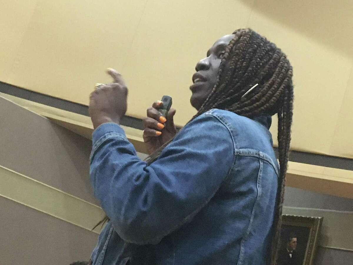 New Haven Alder Jeanette Morrison, D-22, speaks in favor of creating the new Department of Community Resilience Sept. 24, 2021.