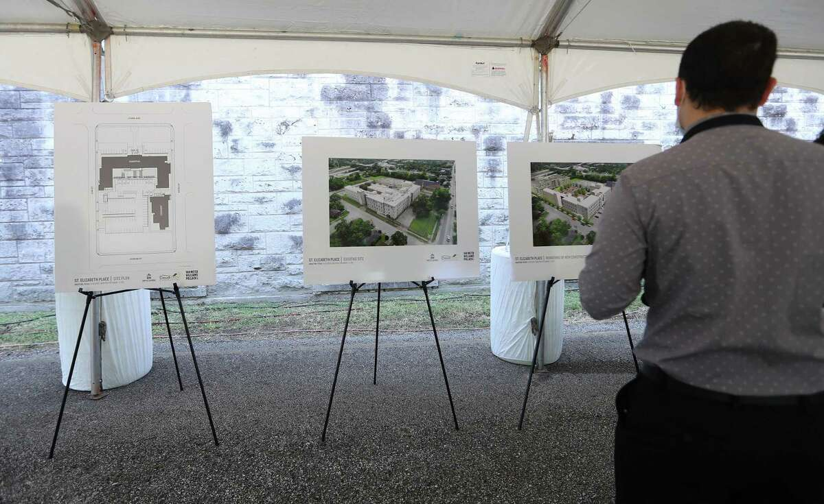 Renderings of St. Elizabeth Place, a new community of 85 apartment homes during a groundbreaking at the old St. Elizabeth Hospital in the Fifth Ward, which is being converted into mixed-income housing, Friday, September 24, 2021, in Houston. The project has attracted some controversy among neighbors, some of whom have decried it as gentrification.