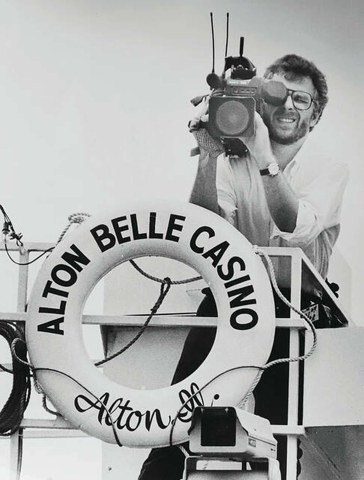 It was a major story for both Illinois and Missouri in 1991 when Alton received the first riverboat gaming license in Illinois. Here, a television cameraman shoots footage of the fuss surrounding the arrival of the Alton Belle Casino.