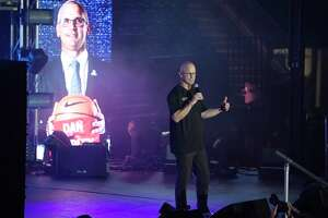 Connecticut head coach Dan Hurley during UConn's men's and women's basketball teams annual First Night celebration in Storrs, Conn, Conn., Friday, Oct. 18, 2019, in Storrs, Conn. (AP Photo/Jessica Hill)